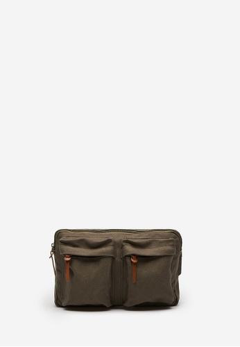 Springfield brown Khaki Fabric Combination Belt Bag 08F23AC06E0D8AGS_1