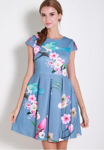 Leline Style blue Elaen Oriental Printed Dress LE802AA77TPESG_1