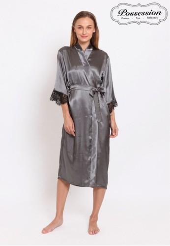 Possession grey Possession Lingerie Set Slip & Robe/Kimono Lace Dilla 9026S GY CF089AA859788BGS_1
