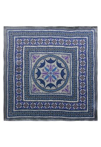 Red Stag And Hind grey Red Stag And Hind Grey and Purple Tile Silk Pocket Square FDF0CAC3DD05C5GS_1
