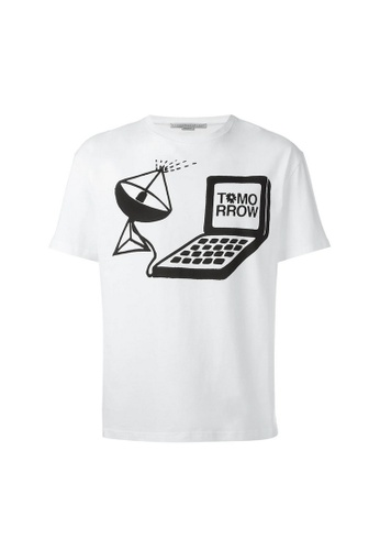 Stella Mccartney white Stella Mccartney Graphic Print Knited Crew Neck T-Shirt in White 3789BAABB9623DGS_1