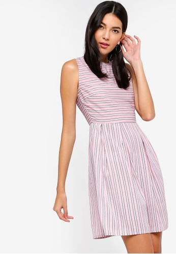 ZALORA pink and multi Pleated Fit And Flare Dress F4381AA21318A6GS_1