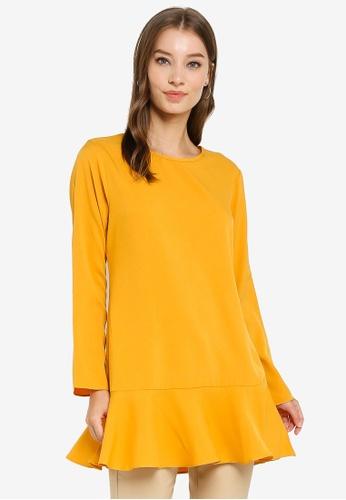 Aqeela Muslimah Wear yellow Back Button Blouse 0DB32AA70943B5GS_1