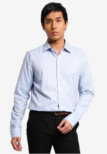 LC Waikiki blue Slim Fit Long Sleeve Twill Shirt FF01FAA15B4D6DGS_1