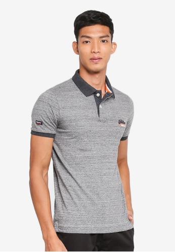 Superdry grey Cali Ringer S/S Polo 214F5AAC0967ECGS_1