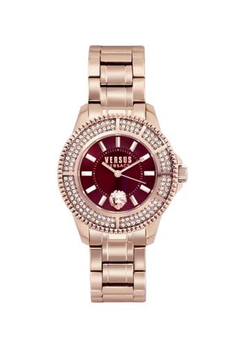 Versus black Tokyo Crystal 38mm IP Rose Gold Bracelet Burgundy Dial Ladies Watch VE464AC15PAYMY_1