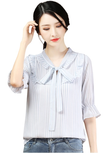 A-IN GIRLS white and blue Elegant Striped Tie Blouse 42359AA17F9F5AGS_1