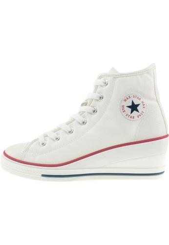 Maxstar 白色 新款韩国鞋7H-Zip時尚皮革布混合女白色 US Women Size MA345SH05GWWTW_1