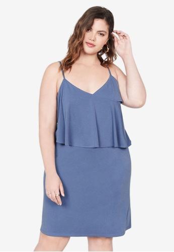 Violeta by MANGO 藍色 大尺碼 荷葉飾羅紋洋裝 1C4CCAAF0DA7F9GS_1