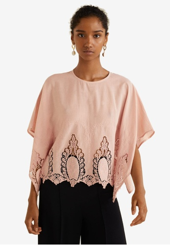 Mango pink Embroidered Cotton Blouse 81512AA24B24CEGS_1