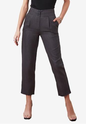 Trendyol black Button High Waist Crop Pants 46071AAA8070E4GS_1