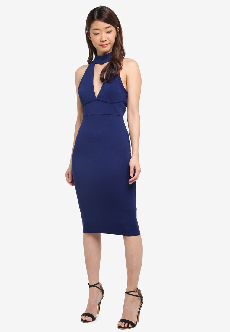 Dress Strappy AX Navy Bodycon Paris TqAwpRxq