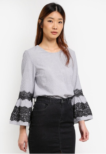 WAREHOUSE black Textured Stripe Lace Top D4FE3AAAF0F59AGS_1