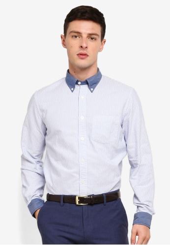 Brooks Brothers 藍色 長袖條紋襯衫 52D16AA4347E66GS_1
