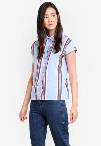 Mango blue Ruffled Striped Shirt MA193AA07GCMMY_1