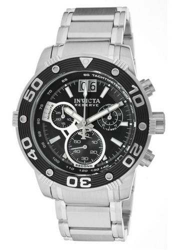 INVICTA black and silver Invicta Reserve Men 47mm Case Silver Stainless Steel Strap Black Dial Quartz Watch 0760 IN968AC0F5H8SG_1