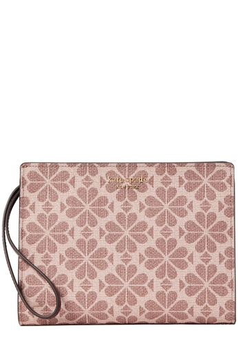 KATE SPADE brown and beige Kate Spade Spade Flower Coated Canvas Wristlet in Pink Multi E04AAAC67268EAGS_1