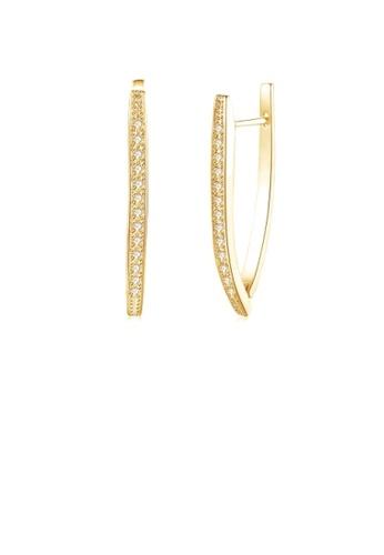 Glamorousky white Fashion Simple Plated Gold Geometric Single Row Cubic Zircon Stud Earrings E2EE8AC0E20067GS_1