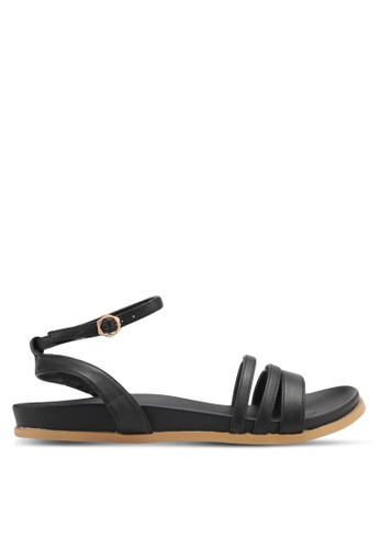 Something Borrowed black Double Strap Footbed Sandals 8C88ASH9C2496AGS_1