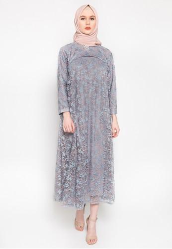 Kasa Heritage blue and grey Calla Dress - Cloud 0AB59AAB2AF32AGS_1
