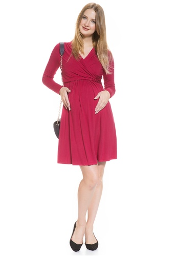 Mayarya red Crossover Maternity and Nursing Dress A1645AAECADF72GS_1