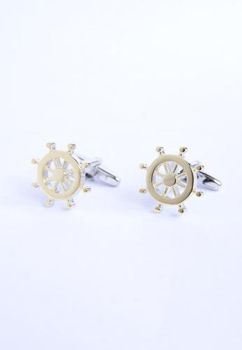Splice Cufflinks gold Two Tone Ships wheels Cufflinks SP744AC13PRMSG_1