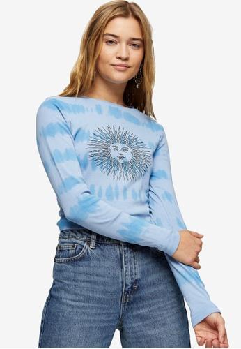 TOPSHOP blue Dye Sun Long Sleeve Top 83924AA42FCBE5GS_1