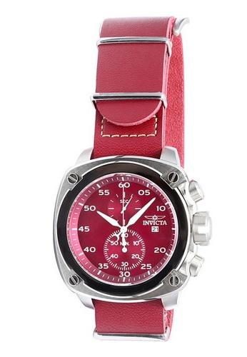 INVICTA red and silver Invicta Aviator Men 54mm Case Ivory, Burgundy Leather Strap Burgundy Dial Quartz Watch 19432 IN968AC0F5FKSG_1