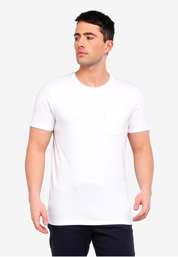 Selected Homme white Wave Basic Pocket Tee 6CABFAACD4AE3EGS_1