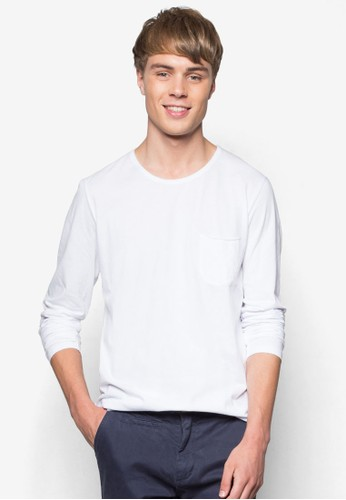 Fader 口袋長袖esprit台灣outletTEE, 服飾, T恤