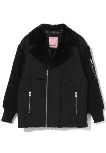 b+ab black Faux fur moto jacket CD842AA2606333GS_1