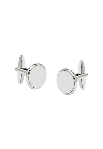 Buckle silver Nickel Round Cufflinks 8436CAC0C9A51AGS_1