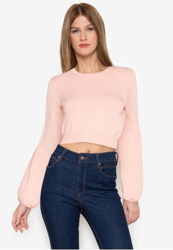 ZALORA BASICS pink Balloon Sleeve Knit Top EBD8AAA8B85A1DGS_1
