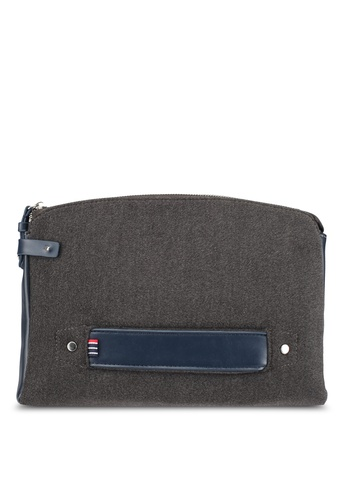 ZALORA grey and navy Felt and Faux Leather Document Folio D7022AC46046DBGS_1