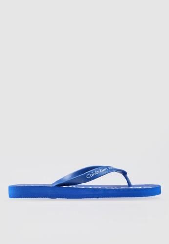 Calvin Klein 藍色 印花夾腳拖 10F53SHD27BD72GS_1