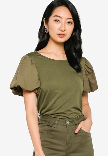 ZALORA BASICS 綠色 Cotton Puff Sleeve T-Shirt 12993AAAE9F591GS_1