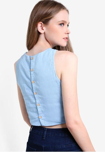 Something Borrowed blue Buttoned Back Top C71A6AAB2BD52BGS_1