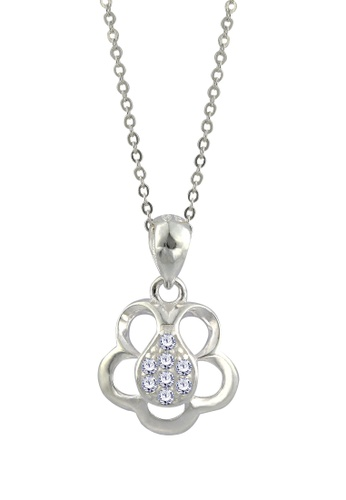 SC Tom Silver silver Flower Stone Pendant with Chain-TPS090 w/chain SC872AC18GGBPH_1