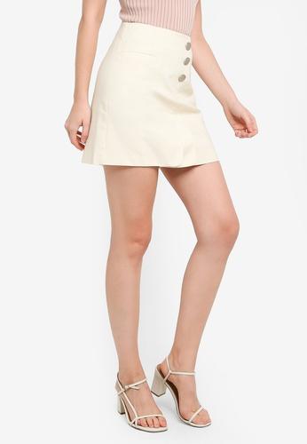 Hopeshow beige Front Flap A-Line High Waist Mini Skirt 454E2AAE9546F7GS_1