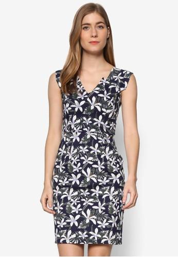 Victoria 印花V 領無袖連身裙, esprit tote bag服飾, 洋裝