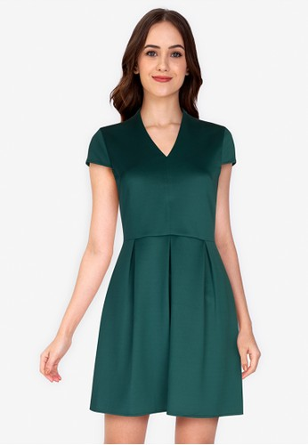 ZALORA WORK green V Neck Mini Dress E83CCAA0A08833GS_1