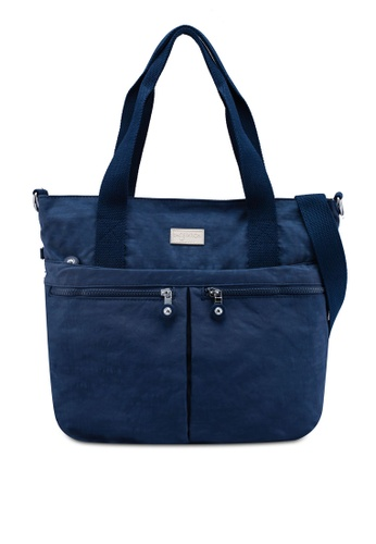 Bagstationz navy Crinkled Nylon Travel Tote F8E1AAC0D3F4A6GS_1