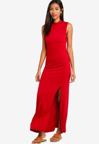 ZALORA BASICS red Basic High Neck Jersey Dress With Slit 91209AA0CB7542GS_1