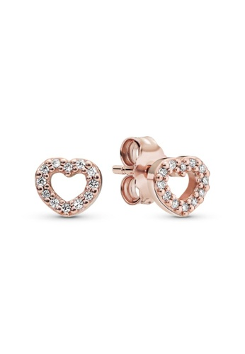 PANDORA silver Pandora Open Heart Stud Earrings AA565AC47C7FABGS_1