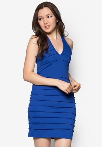 褶飾繞脖連身esprit旗艦店裙, 服飾, 緊身洋裝