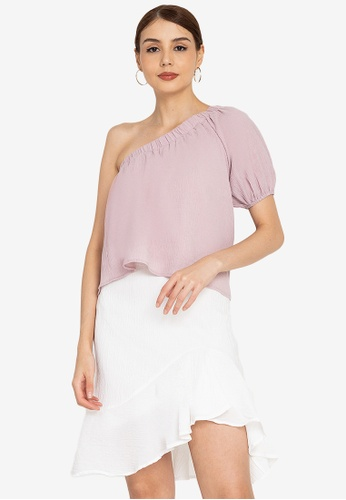 ZALORA OCCASION pink Textured One Shoulder Top DC978AA9F31D7CGS_1