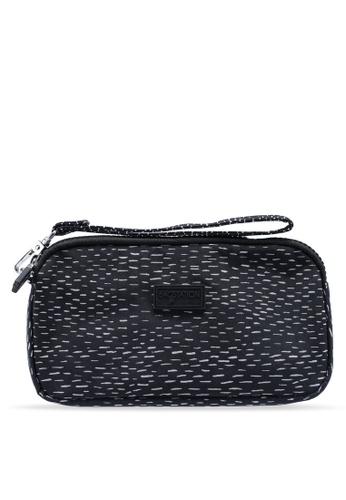 Bagstationz black Printed Crinkled Nylon Wristlet Pouch 8436BACF900D60GS_1