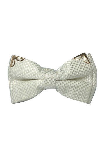 Splice Cufflinks white Modish Series Pearl White Patterned Polyester Pre-Tied Bow Tie SP744AC84FITSG_1