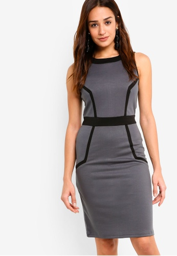 ZALORA grey and multi Colourblock Bodycon Dress 05342AA829ECF2GS_1