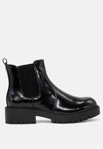 London Rag black Patent Boots with Chunky Sole SH1773 6B480SH57F4EDCGS_1